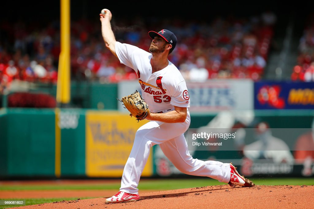 John Gant #53 of the St. Louis Cardinals delivers a pitch against the Atlanta Braves in the first inning at Busch Stadium on July 1, 2018 in St. Louis, Missouri.