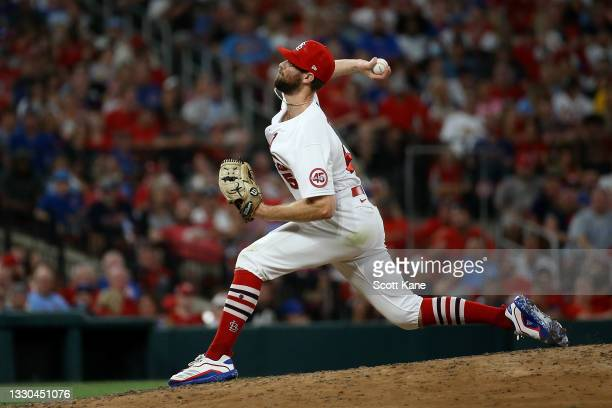 John Gant of the St. Louis Cardinals delivers during the seventh inning against the Chicago Cubs at Busch Stadium on July 19, 2021 in St. Louis,...