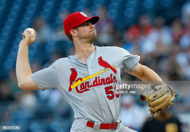 John Gant of the St Louis Cardinals pitches in the first inning against the Pittsburgh Pirates at PNC Park on May 25 2018 in Pittsburgh Pennsylvania