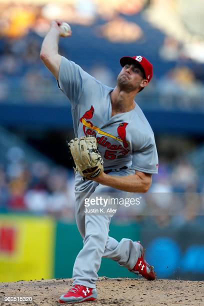 John Gant of the St Louis Cardinals pitches in the third inning against the Pittsburgh Pirates at PNC Park on May 25 2018 in Pittsburgh Pennsylvania