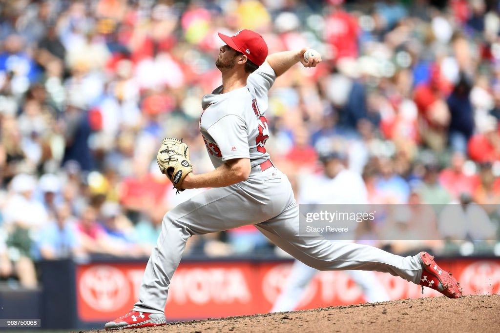 John Gant #53 of the St. Louis Cardinals throws a pitch during the fifth inning of a game against the Milwaukee Brewers at Miller Park on May 30, 2018 in Milwaukee, Wisconsin.