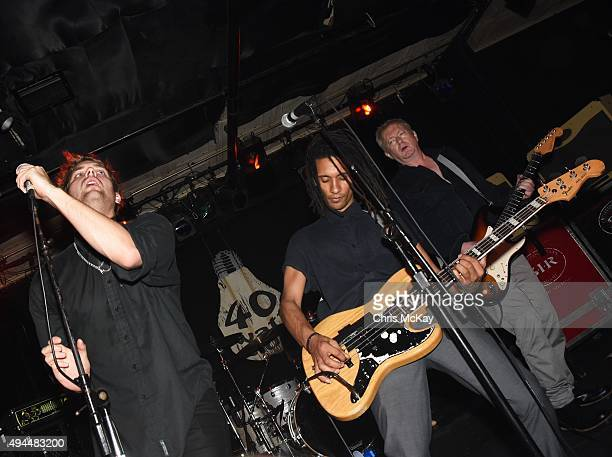 John 'Gaoler' Sterry Thomas McNeice and Andy Gill of Gang Of Four perform at 40 Watt Club on October 26 2015 in Athens Georgia