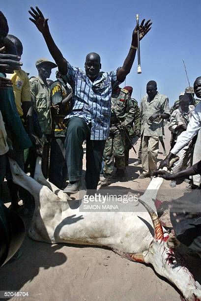 John Garang leader of Sudan People's Liberation Army walks over a slaughtered cow in Rumbek 22 January 2005 provisional capital of south Sudan after...