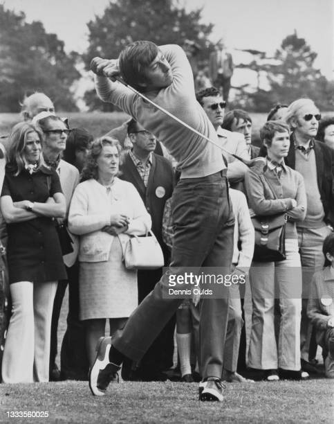 John Garner of Great Britain drives off the 3rd tee during the Viyella PGA Championship Golf Tournament on 26th August 1972 at the Wentworth Club...