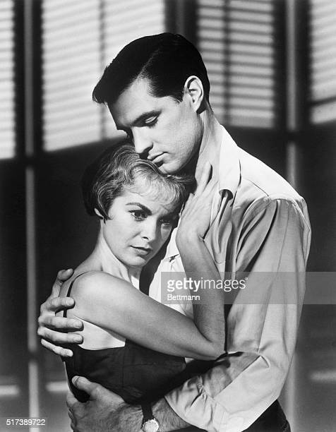 John Gavin and Janet Leigh play Sam Loomis and Marion Crane in the horror picture Psycho.