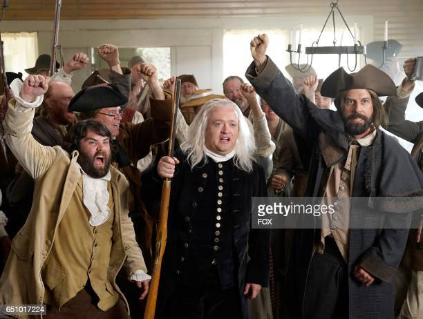 John Gemberling Neil Casey and guest star Brett Gelman in the 'The Shot Heard Round The World' episode of MAKING HISTORY airing Sunday March12 on FOX