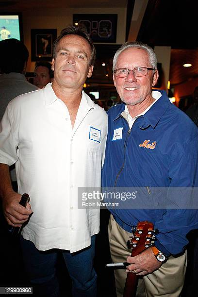 John Gibbons and Bud Harrelson attend the 1986 New York Mets Championship Season 25th Anniversary celebration at Strawberry's Sports Grill on October...