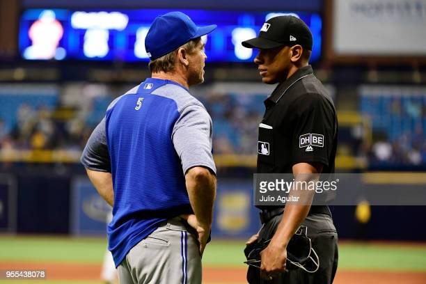 John Gibbons of the Toronto Blue Jays gets ejected in the eighth inning on May 6 2018 at Tropicana Field in St Petersburg Florida The Toronto Blue...