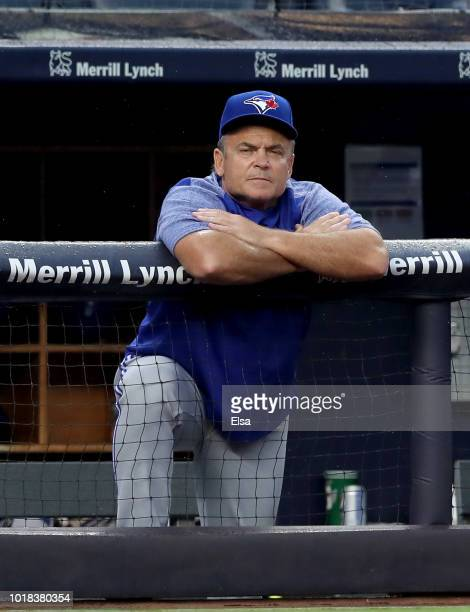 John Gibbons of the Toronto Blue Jays looks on in the first inning against the New York Yankees at Yankee Stadium on August 17 2018 in the Bronx...
