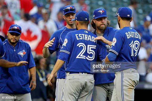 John Gibbons of the Toronto Blue Jays pulls Marco Estrada of the Toronto Blue Jays during the ninth inning against the Texas Rangers in game one of...