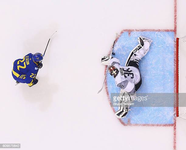 John Gibson of Team North America makes the overtime save on Daniel Sedin of Team Sweden at the World Cup of Hockey tournament at the Air Canada...