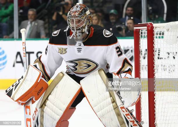 John Gibson of the Anaheim Ducks at American Airlines Center on October 13 2018 in Dallas Texas
