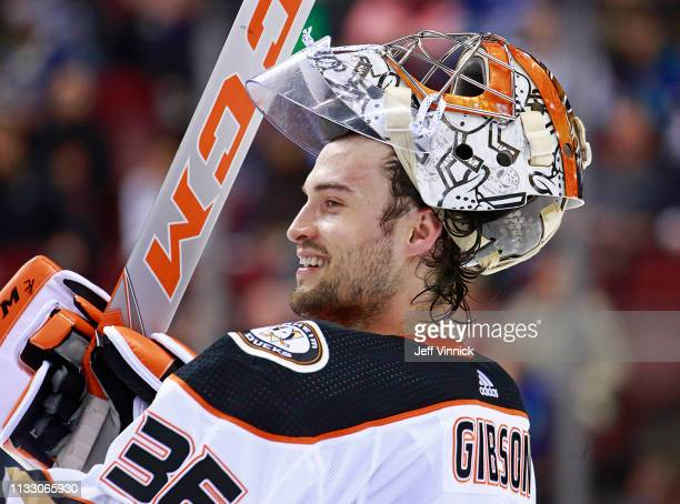 John Gibson of the Anaheim Ducks looks on from his crease during their NHL game against the Vancouver Canucks at Rogers Arena March 26 2019 in...