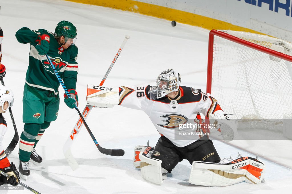 John Gibson #36 of the Anaheim Ducks makes a save against Mikael Granlund #64 of the Minnesota Wild during the game at the Xcel Energy Center on February 17, 2018 in St. Paul, Minnesota.