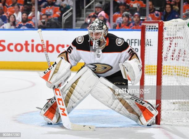 John Gibson of the Anaheim Ducks prepares to make a save during the game against the Edmonton Oilers on January 4 2018 at Rogers Place in Edmonton...