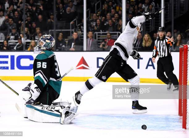John Gibson of the Anaheim Ducks reacts to a goal from Ilya Kovalchuk of the Los Angeles Kings to a 30 lead during the second period at Staples...