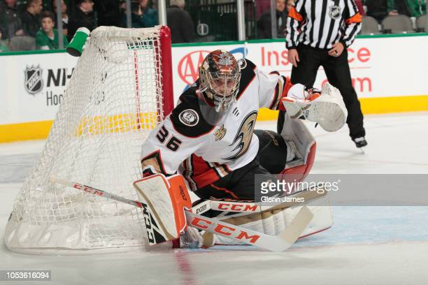John Gibson of the Anaheim Ducks tends goal against the Dallas Stars at the American Airlines Center on October 25 2018 in Dallas Texas