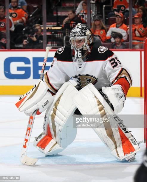 John Gibson of the Anaheim Ducks tends goal against the Philadelphia Flyers on October 24 2017 at the Wells Fargo Center in Philadelphia Pennsylvania