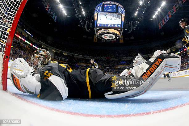John Gibson of the Anaheim Ducks tends goal during the 2016 Honda NHL AllStar Final Game between the Eastern Conference and the Western Conference at...