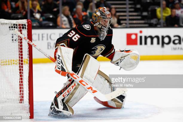 John Gibson of the Anaheim Ducks tends goal during the second period of a game against the New York Rangers at Honda Center on November 1 2018 in...