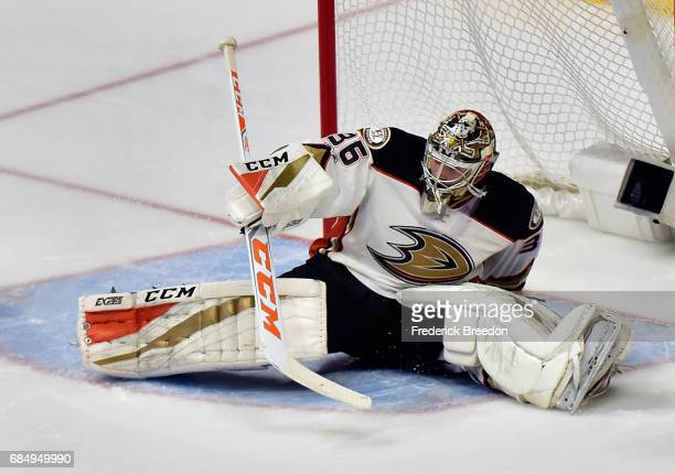 John Gibson of the Anaheim Ducks tends goal during the third period against the Nashville Predators in Game Four of the Western Conference Final...
