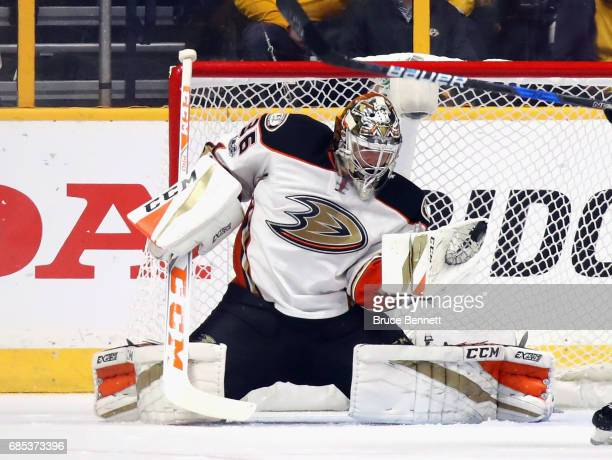 John Gibson of the Anaheim Ducks tends net against the Nashville Predators in Game Four of the Western Conference Final during the 2017 NHL Stanley...