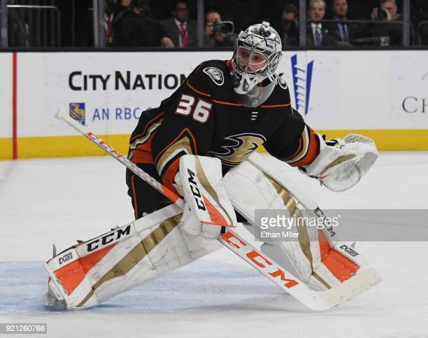 John Gibson of the Anaheim Ducks tends net in the second period of a game against the Vegas Golden Knights at TMobile Arena on February 19 2018 in...