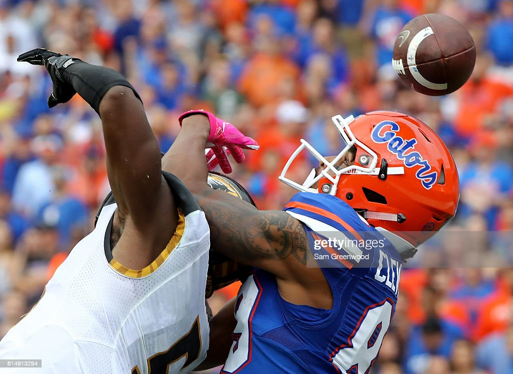 John Gibson #5 of the Missouri Tigers breaks up a pass intended for Tyrie Cleveland #89 of the Florida Gators during the game at Ben Hill Griffin Stadium on October 15, 2016 in Gainesville, Florida.