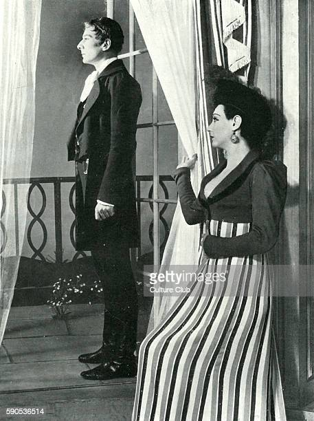 John Gielgud and Carol Goodner in Emlyn Williams play 'He was born gay' at the Queen's Theatre London 1937 Closed down after 13 performances