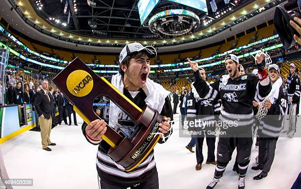 John Gilmour of the Providence College Friars celebrates a national championship win against the Boston University Terriers 43 during the 2015 NCAA...