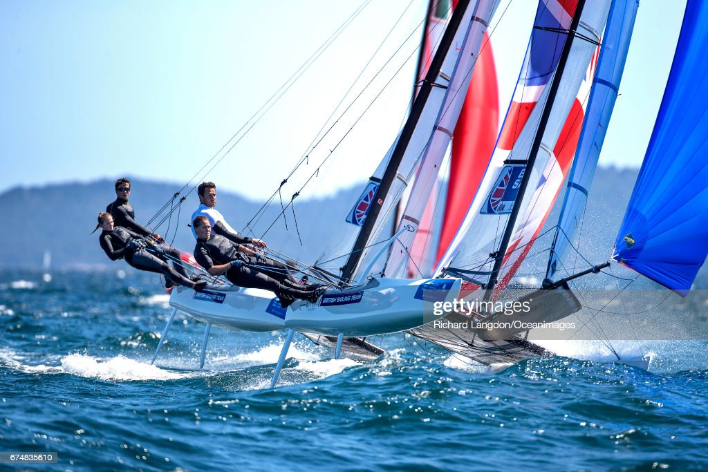 John Gimson and Anna Burnet from the British Sailing Team sail their Nacra 17 during the ISAF Sailing World Cup Hyeres on APRIL 29, 2017 in Hyeres, France.
