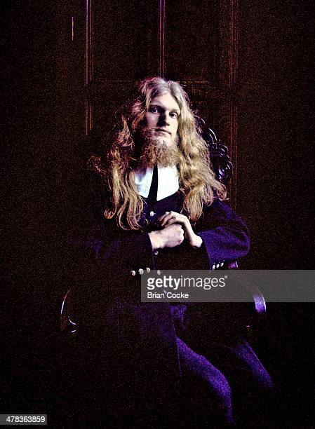 John Gladwin of Amazing Blondel poses for the Fantasia Lindum album cover at Shibden Hall, Halifax in March 1971.