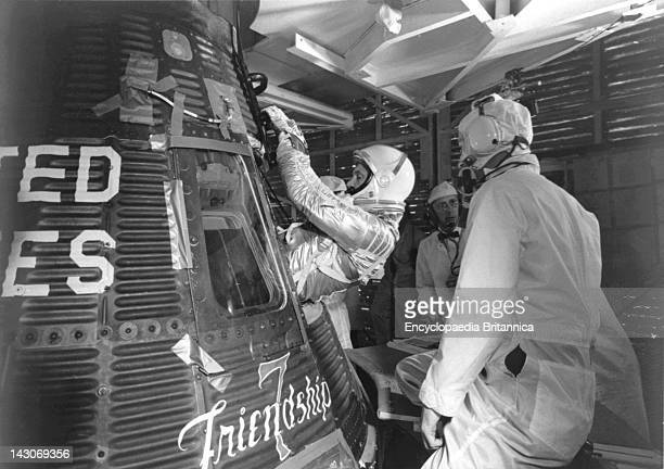 John Glenn Jr Entering Spacecraft Friendship 7 Astronaut John H Glenn Jr Entering His Mercury Spacecraft Friendship 7 Prior To Launch Of The First US...