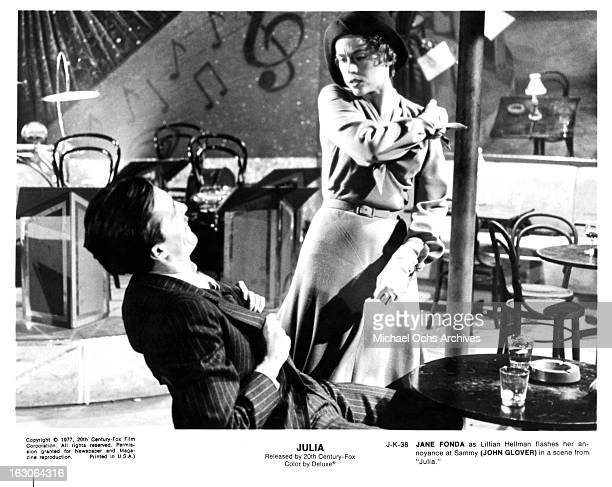 John Glover is stricken by Jane Fonda in a scene from the film 'Julia' 1977