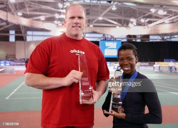 John Godina and Angela Daigle, winners of the inaugural VISA Championship Series in the USA Track & Field Indoor Championships