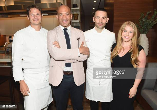 John Gomes and Samantha Sax attend An Evening At One West End With chefs Mario Carbone And Rich Torrisi on June 13 2018 in New York City
