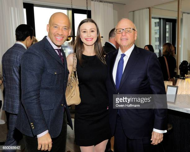 John Gomes Elena Veremeeva and Howard Lorber attend 11 Beach Model Residence Unveiling Event at 11 Beach Street on March 7 2017 in New York City