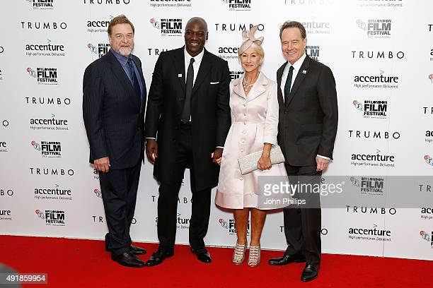 John Goodman Adewale AkinnuoyeAgbaje Helen Mirren and Brian Cranston attend the 'Trumbo' Accenture Gala during the BFI London Film Festival at Odeon...