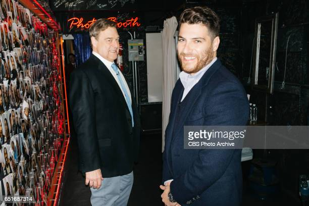 John Goodman and Adam Pally backstage during The Late Late Show with James Corden Thursday March 9 2017 On The CBS Television Network