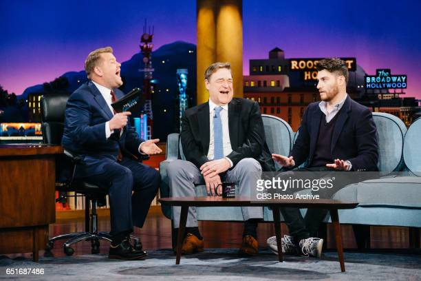 John Goodman and Adam Pally chat with James Corden during The Late Late Show with James Corden Thursday March 9 2017 On The CBS Television Network