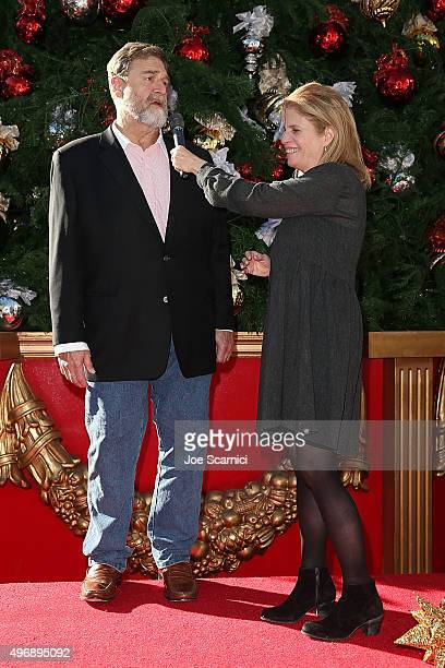 John Goodman and Director Jessie Nelson speak on stage at the Love The Coopers Holiday Luncheon Benefiting The LA Regional Food Bank at The Grove on...