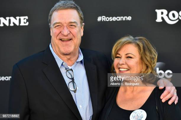 John Goodman and Roseanne Barr attend the premiere of ABC's 'Roseanne' at Walt Disney Studio Lot on March 23 2018 in Burbank California