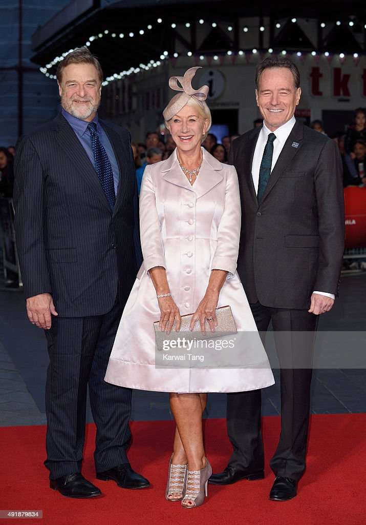 John Goodman, Dame Helen Mirren and Bryan Cranston attend a screening of 'Trumbo' during the BFI London Film Festival at Odeon Leicester Square on October 8, 2015 in London, England.