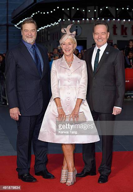 John Goodman Dame Helen Mirren and Bryan Cranston attend a screening of 'Trumbo' during the BFI London Film Festival at Odeon Leicester Square on...