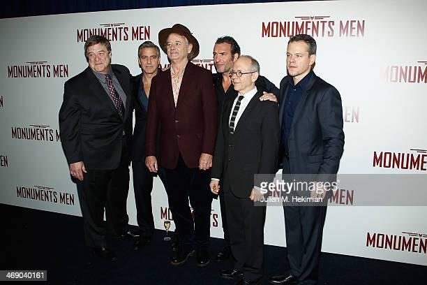 John Goodman, George Clooney, Bill Murray, Jean Dujardin, Bob Balaban and Matt Damon attend 'Monuments Men' Paris premiere at Cinema UGC Normandie on...