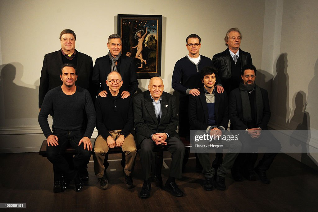John Goodman, Jean Dujardin, George Clooney, Bob Balaban, Henry Ettlinger, Matt Damon, Dimitri Leonidas, Bill Murray and Grant Heslov attend a photocall for 'The Monuments Men' at The National Gallery on February 11, 2014 in London, England.