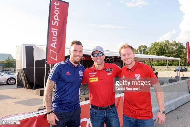 John Goossens driver Andrew Davis and Dax McCarty attend as Audi hits the track with Major League Soccer AllStar players ahead of MLS AllStar Game in...