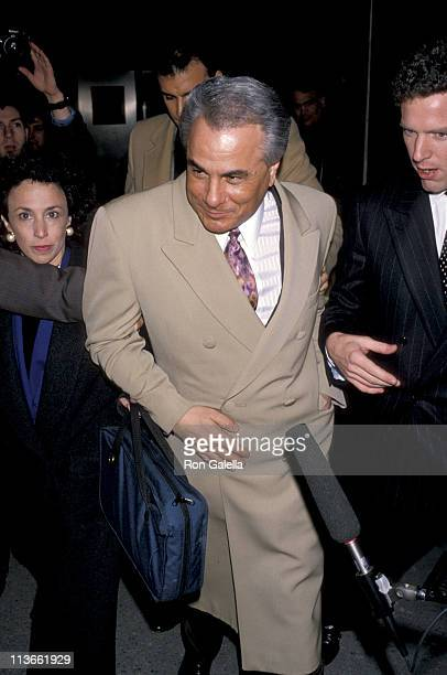 John Gotti and NBC Reporter John Miller during John Gotti At The New York Federal Courthouse at New York Federal Court House in New York City New...