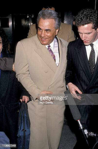 John Gotti and NBC Reporter John Miller during John Gotti At The New York Federal Courthouse at New York Federal Court House in New York City New...