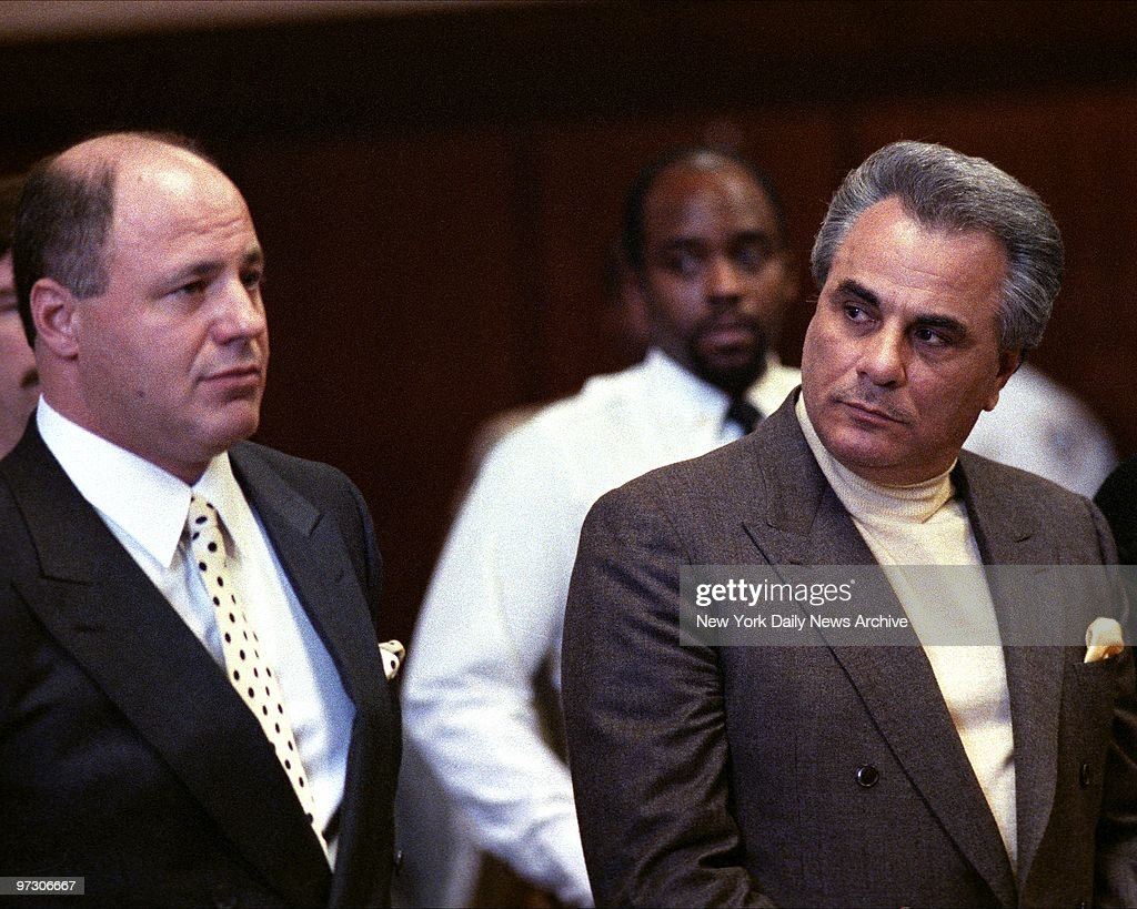 John Gotti at his arraignment with his lawyer, Bruce Cutler.